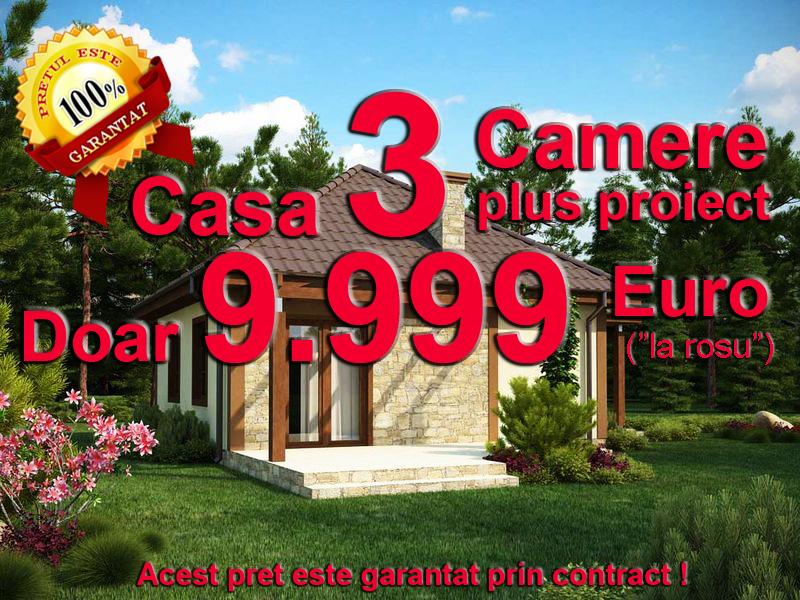Casa 3 camere doar euro proiect inclus pret for Case din lemn pret 5000 euro