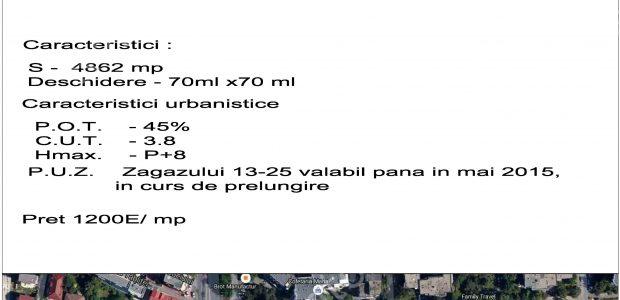Adresa: Terenul situat pe Str. Zagazului colt cu Sos. Pipera– din zona de nord a Bucurestiului Caracteristici Teren: Suprafata = 4.862mp Deschidere = 70 m x 70m  Caracteristici Urbanistice: POT = 45% CUT =3,8 […]