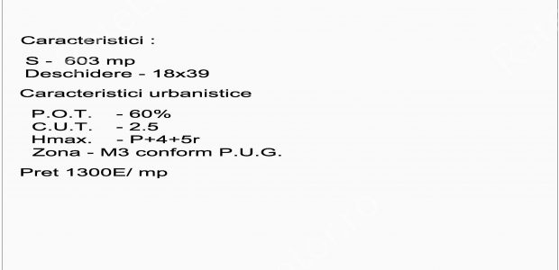 Adresa: Terenul situat pe Str. Nicolae Caranfilcolt cu Str. Gliei– din zona de nord a Bucurestiului Caracteristici Teren: Suprafata = 603 mp Deschidere = 18m x 39m  Caracteristici Urbanistice: POT = 60% CUT = […]