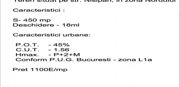 Address: The Land is located on Nisipari Str. – in the north of Buchrest Land Features: Area= 450 mp Frontage= 18m   Urbanistic Features: POT = 45% CUT = 1,56 Hmax = GF+2F+M According to PUG Bucharest – L1a Area Price= […]